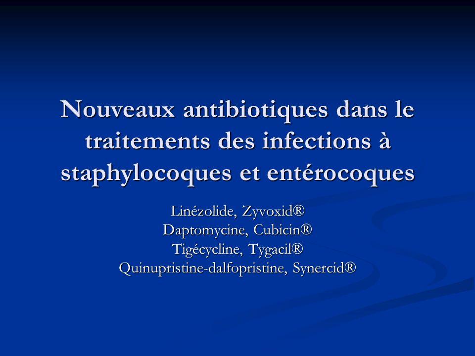 Nouveaux antibiotiques dans le traitements des infections à staphylocoques et entérocoques Linézolide, Zyvoxid® Daptomycine, Cubicin® Tigécycline, Tygacil® Quinupristine-dalfopristine, Synercid®