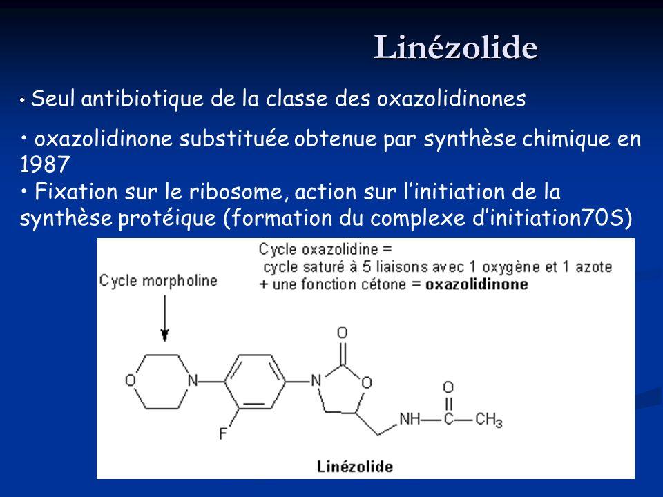 Seul antibiotique de la classe des oxazolidinones oxazolidinone substituée obtenue par synthèse chimique en 1987 Fixation sur le ribosome, action sur linitiation de la synthèse protéique (formation du complexe dinitiation70S)Linézolide