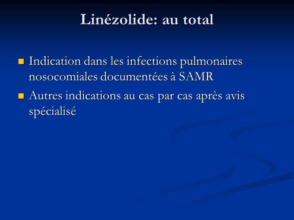 Linézolide: au total Indication dans les infections pulmonaires nosocomiales documentées à SAMR Indication dans les infections pulmonaires nosocomiales documentées à SAMR Autres indications au cas par cas après avis spécialisé Autres indications au cas par cas après avis spécialisé