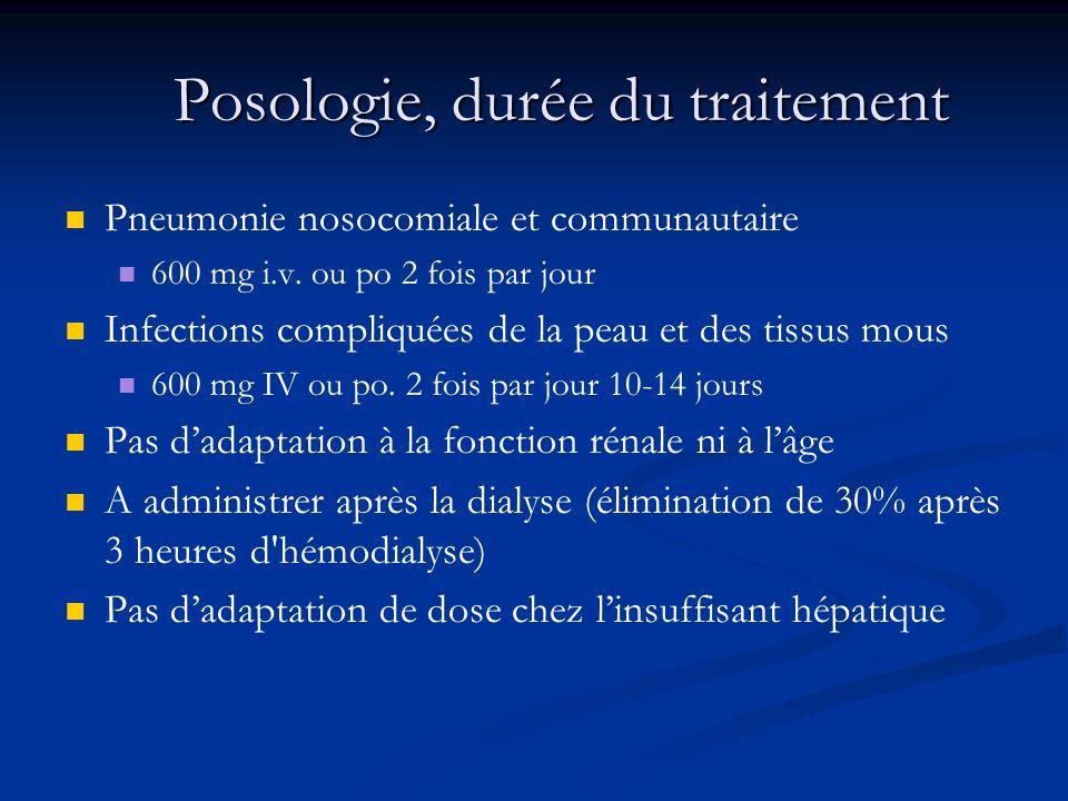 Posologie, durée du traitement Pneumonie nosocomiale et communautaire 600 mg i.v.
