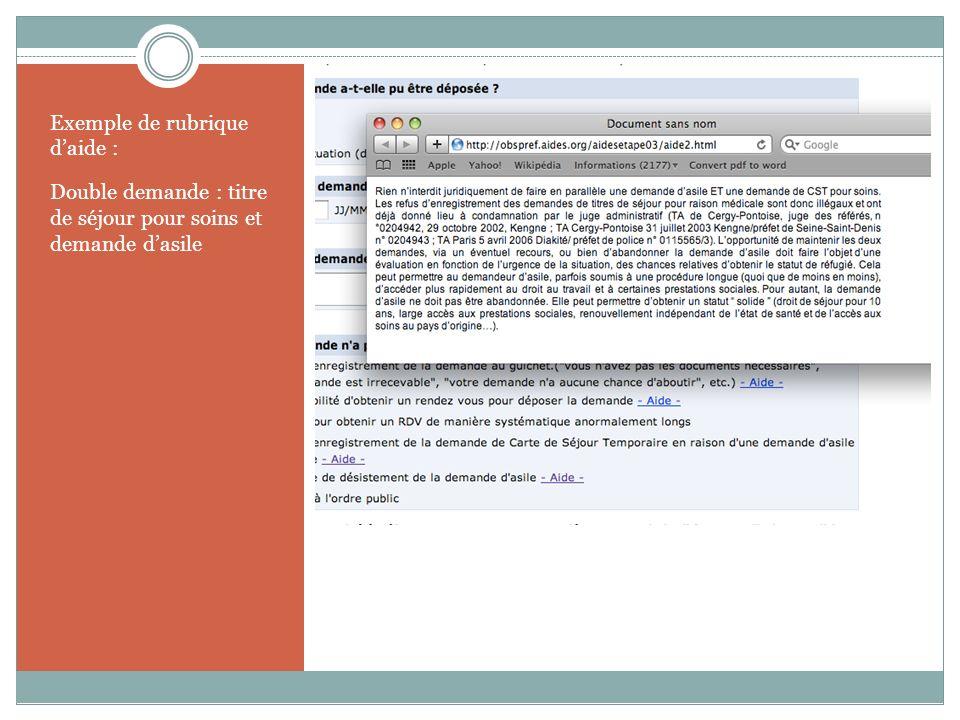 Exemple de rubrique daide Exemple de rubrique daide : Double demande : titre de séjour pour soins et demande dasile