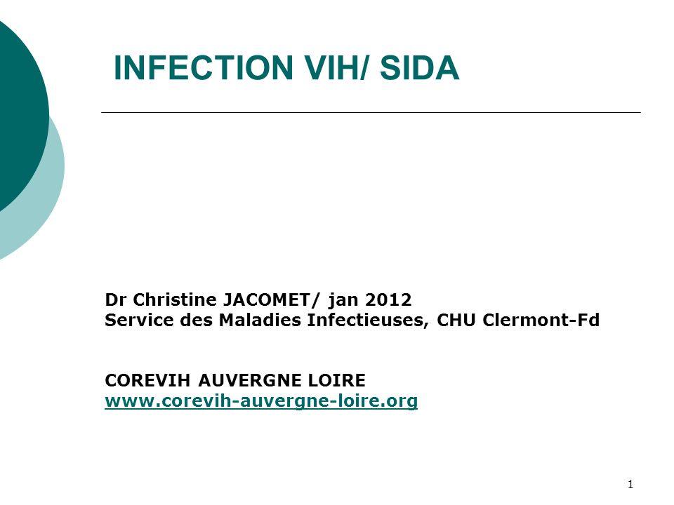 1 INFECTION VIH/ SIDA Dr Christine JACOMET/ jan 2012 Service des Maladies Infectieuses, CHU Clermont-Fd COREVIH AUVERGNE LOIRE www.corevih-auvergne-lo