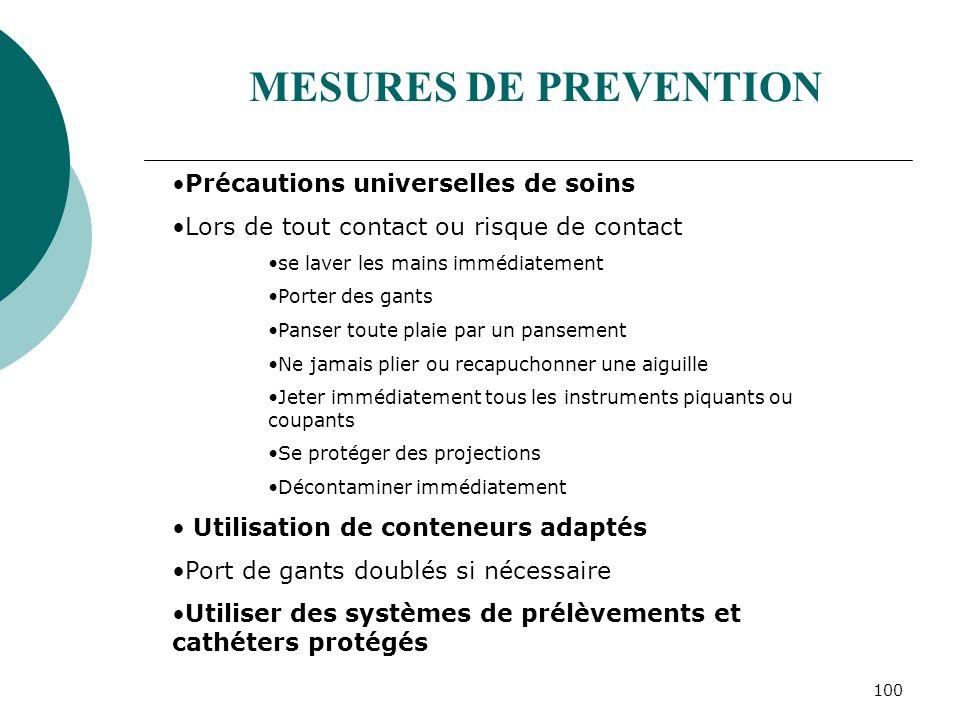 100 MESURES DE PREVENTION Précautions universelles de soins Lors de tout contact ou risque de contact se laver les mains immédiatement Porter des gant