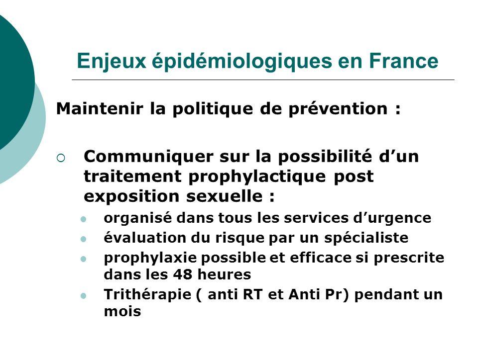 Enjeux épidémiologiques en France Maintenir la politique de prévention : Communiquer sur la possibilité dun traitement prophylactique post exposition