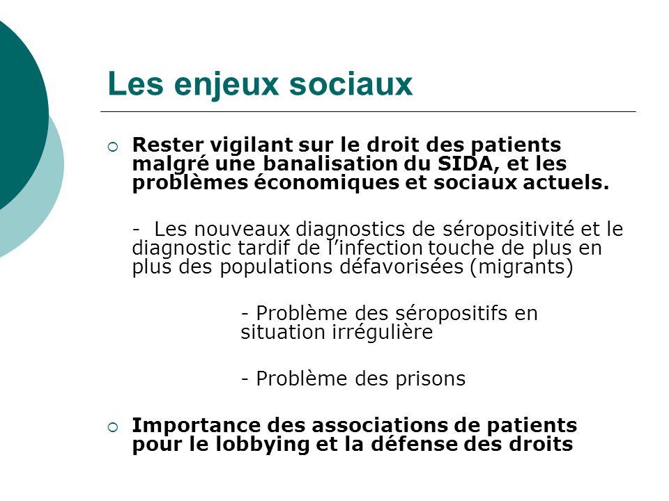 Les enjeux sociaux Rester vigilant sur le droit des patients malgré une banalisation du SIDA, et les problèmes économiques et sociaux actuels. - Les n