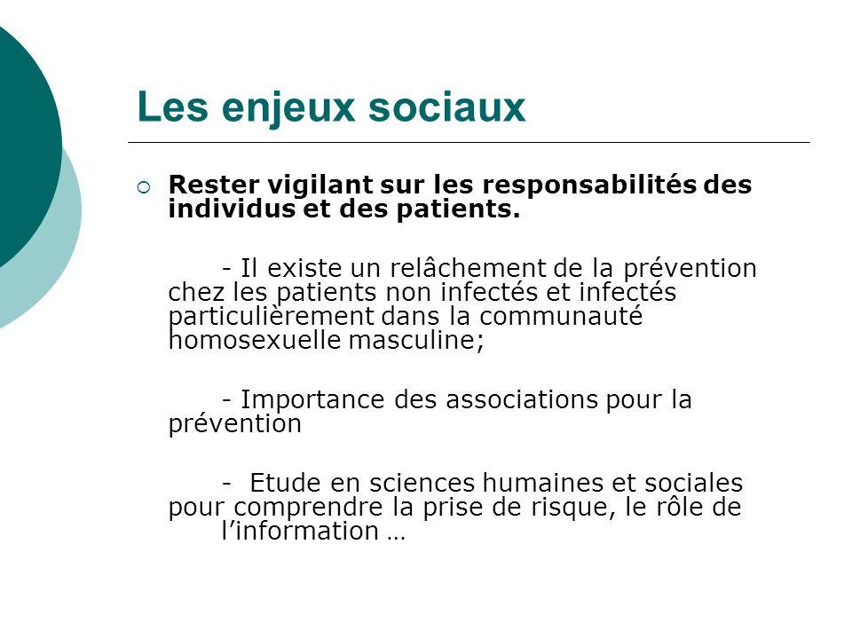 Les enjeux sociaux Rester vigilant sur les responsabilités des individus et des patients. - Il existe un relâchement de la prévention chez les patient