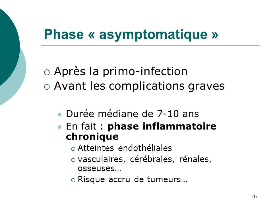 26 Phase « asymptomatique » Après la primo-infection Avant les complications graves Durée médiane de 7-10 ans En fait : phase inflammatoire chronique