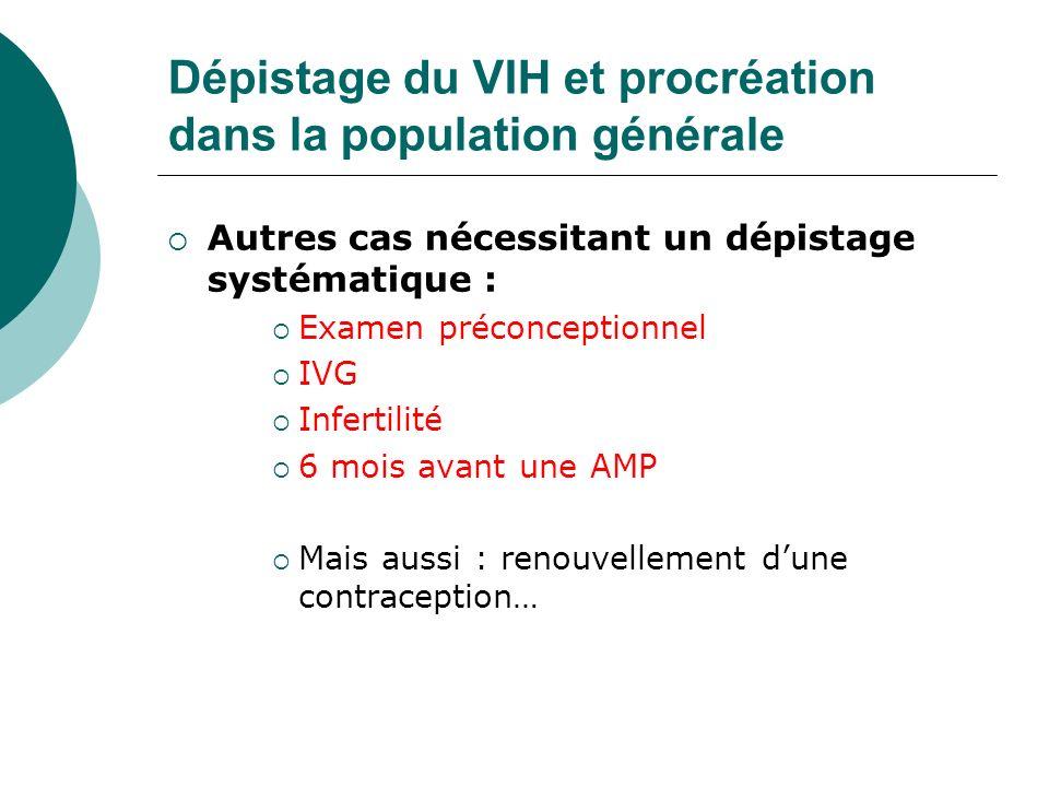 Dépistage du VIH et procréation dans la population générale Autres cas nécessitant un dépistage systématique : Examen préconceptionnel IVG Infertilité
