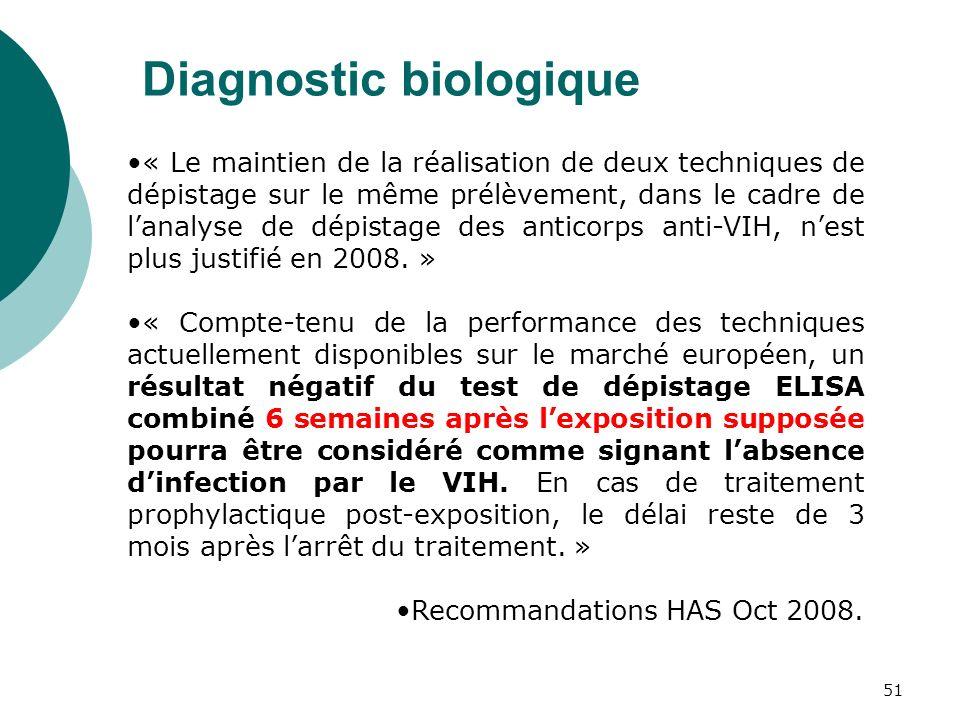 51 Diagnostic biologique « Le maintien de la réalisation de deux techniques de dépistage sur le même prélèvement, dans le cadre de lanalyse de dépista