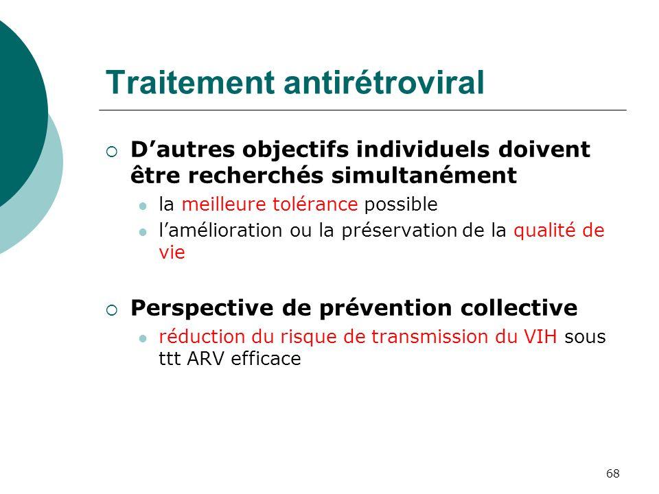 68 Traitement antirétroviral Dautres objectifs individuels doivent être recherchés simultanément la meilleure tolérance possible lamélioration ou la p
