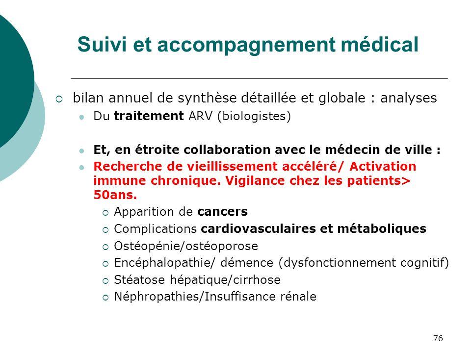 76 Suivi et accompagnement médical bilan annuel de synthèse détaillée et globale : analyses Du traitement ARV (biologistes) Et, en étroite collaborati