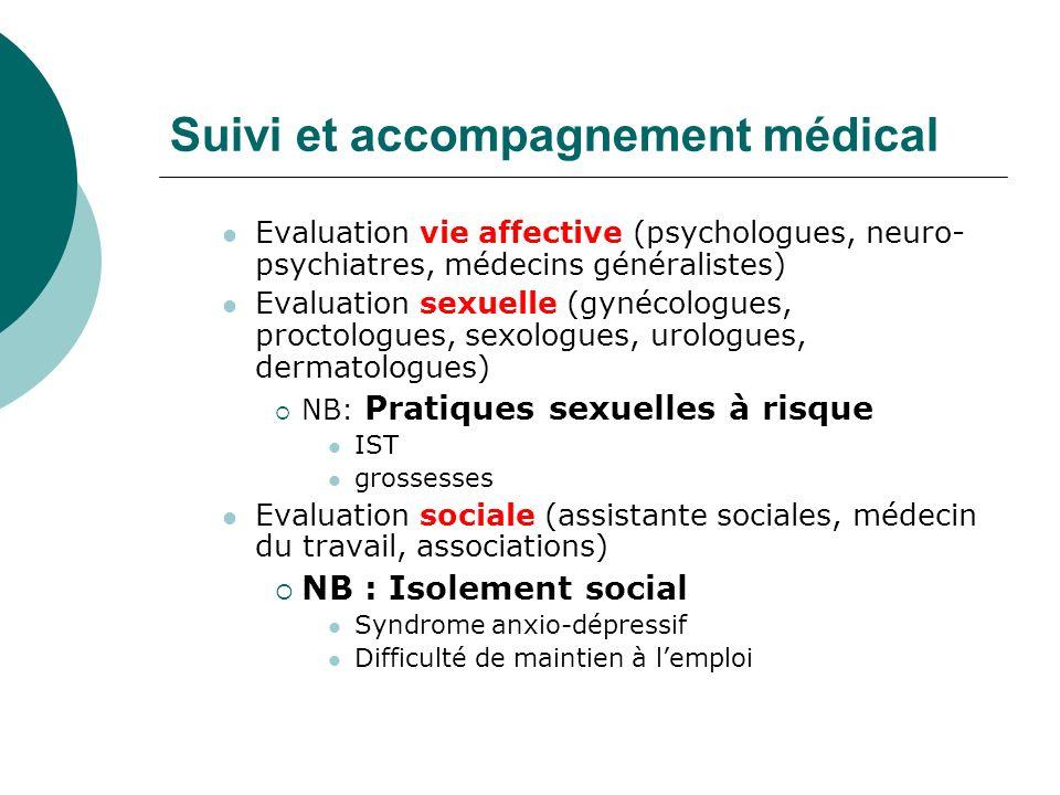 Suivi et accompagnement médical Evaluation vie affective (psychologues, neuro- psychiatres, médecins généralistes) Evaluation sexuelle (gynécologues,