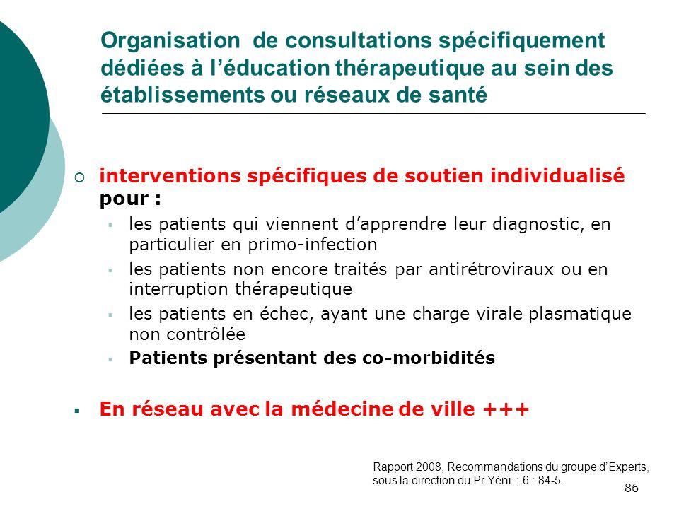 86 Organisation de consultations spécifiquement dédiées à léducation thérapeutique au sein des établissements ou réseaux de santé interventions spécif