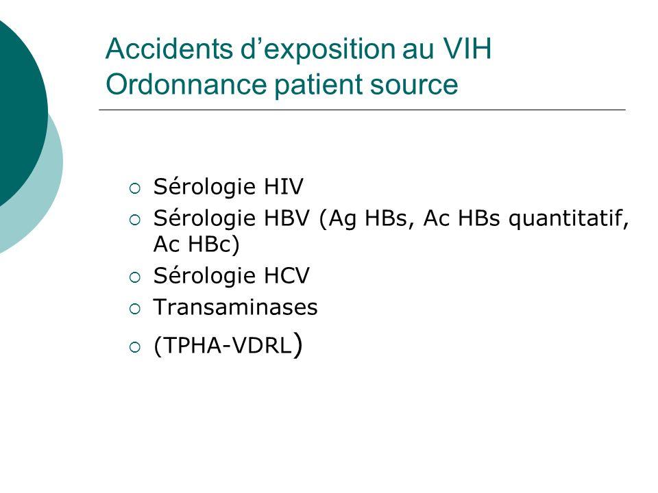 Accidents dexposition au VIH Ordonnance patient source Sérologie HIV Sérologie HBV (Ag HBs, Ac HBs quantitatif, Ac HBc) Sérologie HCV Transaminases (T