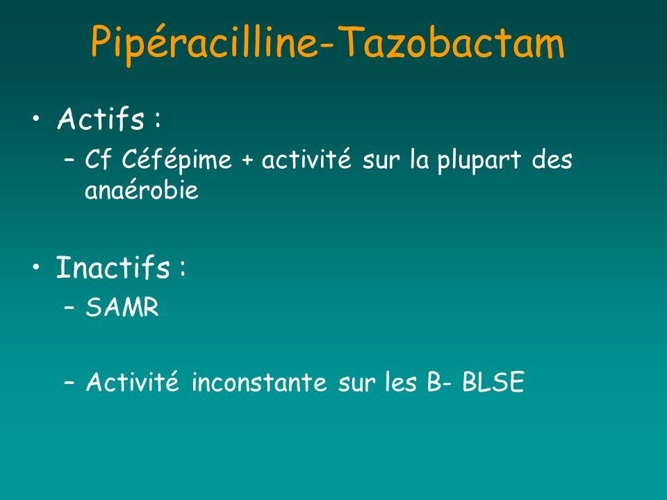 Pipéracilline-Tazobactam Actifs : –Cf Céfépime + activité sur la plupart des anaérobie Inactifs : –SAMR –Activité inconstante sur les B- BLSE