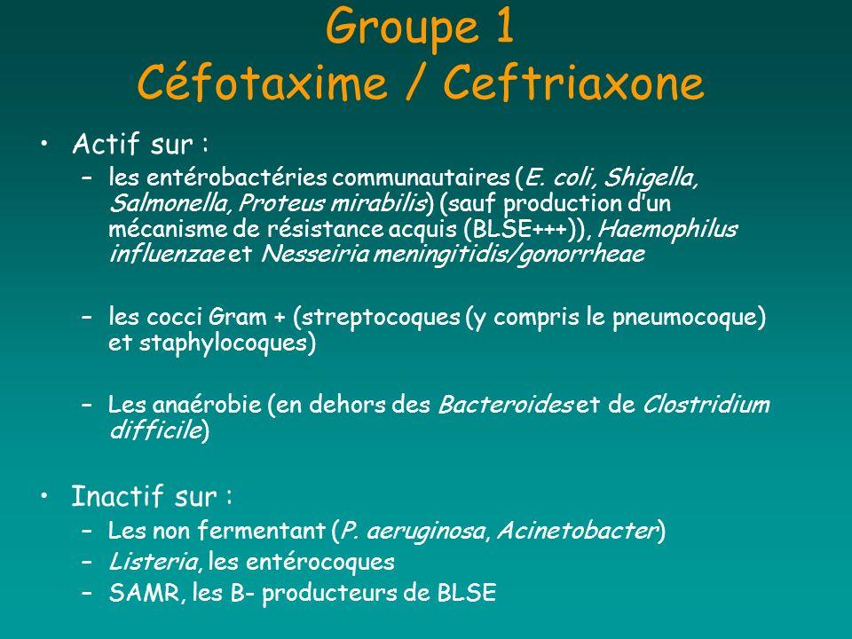 Groupe 1 Céfotaxime / Ceftriaxone Actif sur : –les entérobactéries communautaires (E. coli, Shigella, Salmonella, Proteus mirabilis) (sauf production