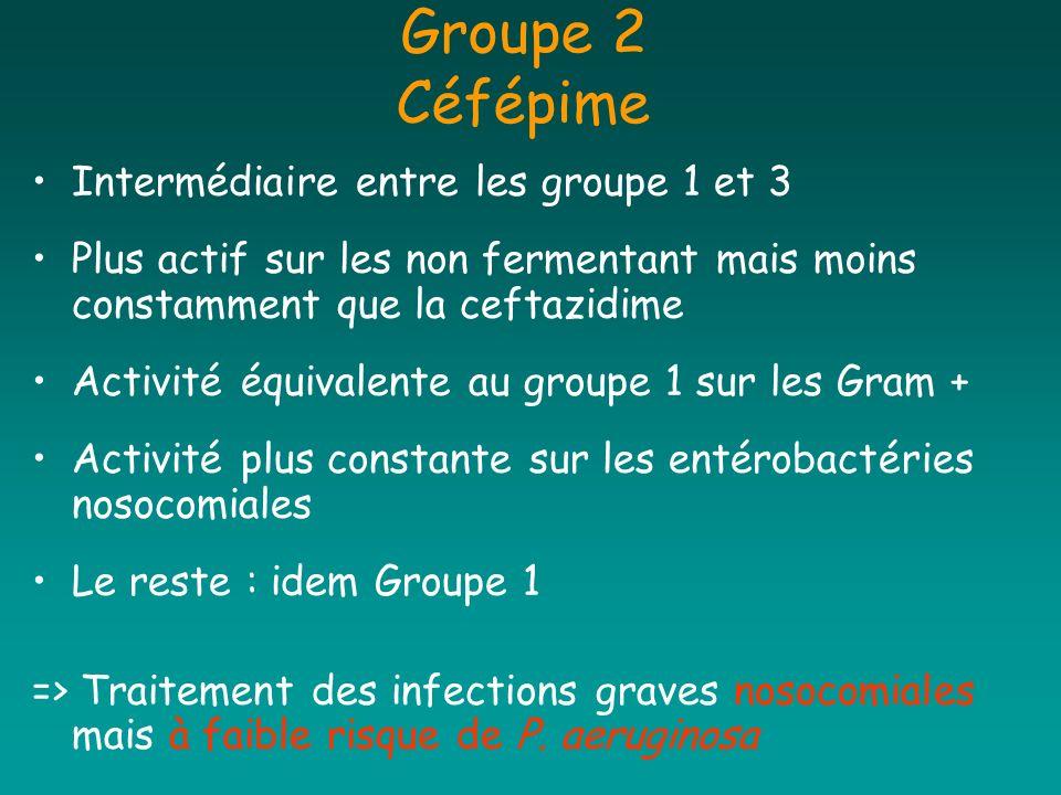 Groupe 2 Céfépime Intermédiaire entre les groupe 1 et 3 Plus actif sur les non fermentant mais moins constamment que la ceftazidime Activité équivalen