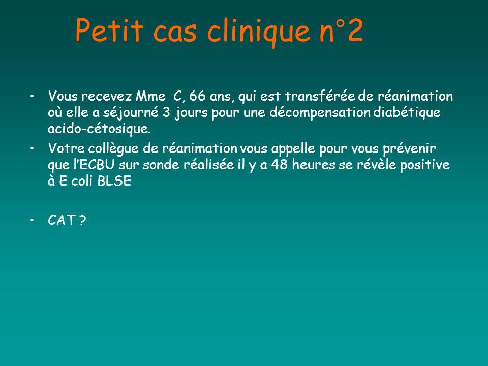 Petit cas clinique n°2 Vous recevez Mme C, 66 ans, qui est transférée de réanimation où elle a séjourné 3 jours pour une décompensation diabétique aci