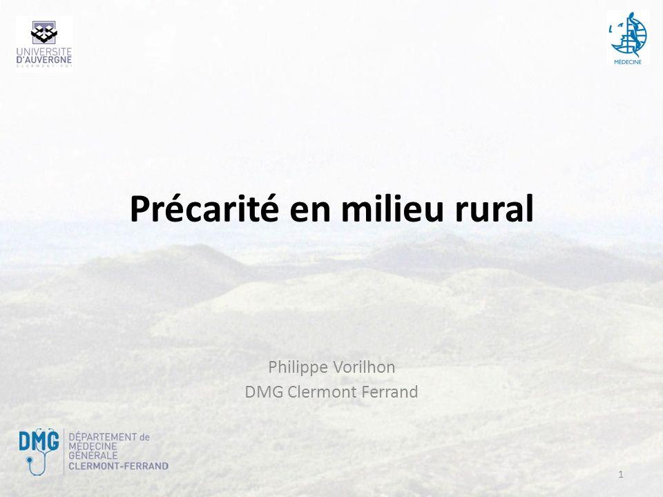 Précarité en milieu rural Philippe Vorilhon DMG Clermont Ferrand 1