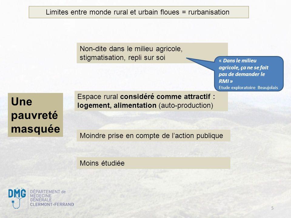 5 Limites entre monde rural et urbain floues = rurbanisation Une pauvreté masquée Non-dite dans le milieu agricole, stigmatisation, repli sur soi Espa