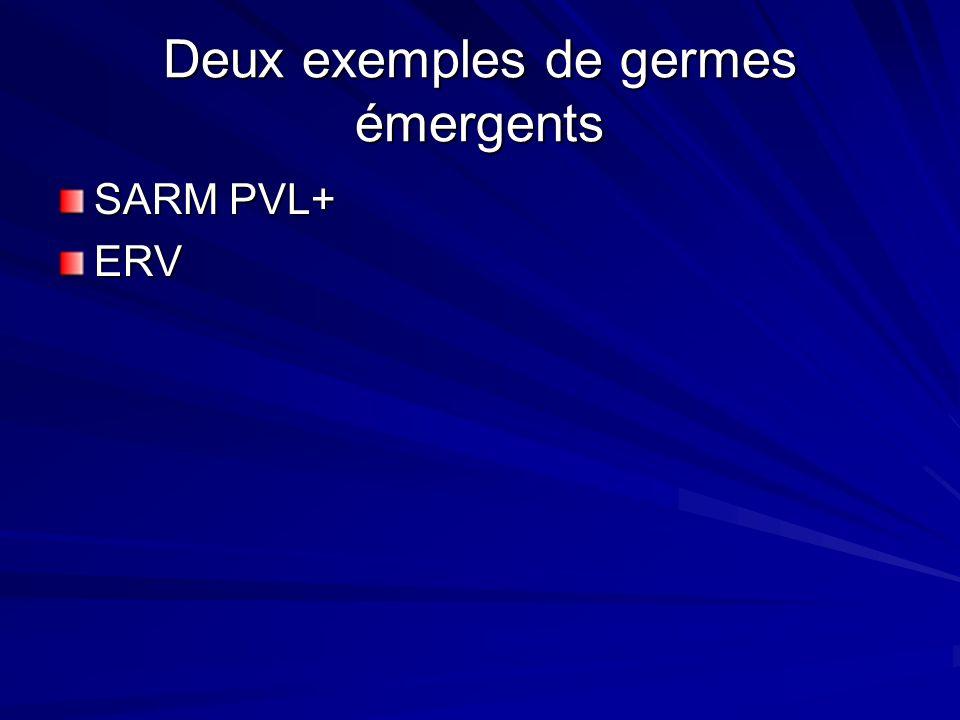 Deux exemples de germes émergents SARM PVL+ ERV