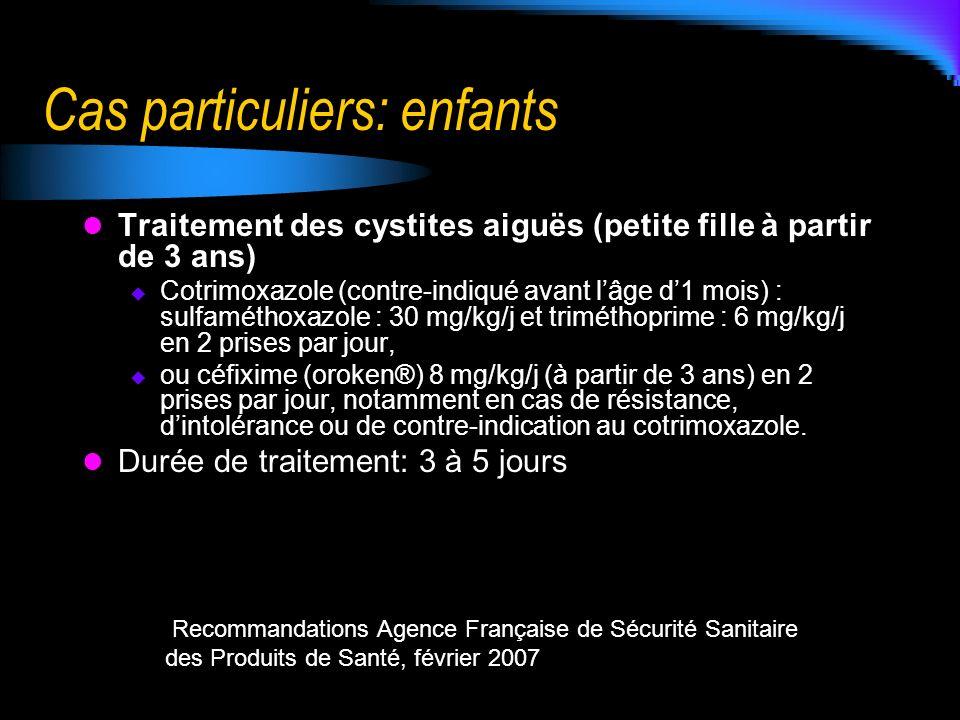 Cas particuliers: enfants Traitement des cystites aiguës (petite fille à partir de 3 ans) Cotrimoxazole (contre-indiqué avant lâge d1 mois) : sulfamét