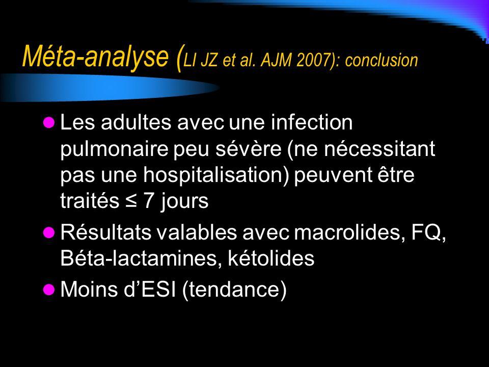 Méta-analyse ( LI JZ et al. AJM 2007): conclusion Les adultes avec une infection pulmonaire peu sévère (ne nécessitant pas une hospitalisation) peuven