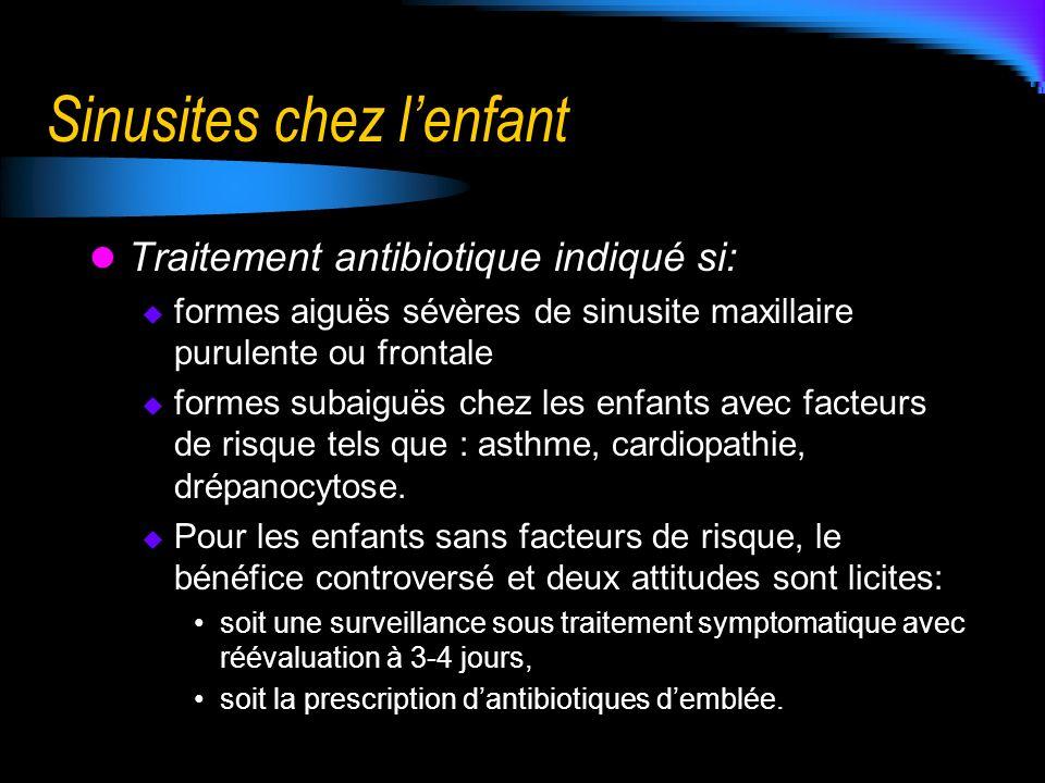 Sinusites chez lenfant Traitement antibiotique indiqué si: formes aiguës sévères de sinusite maxillaire purulente ou frontale formes subaiguës chez le