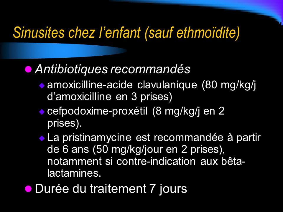 Sinusites chez lenfant (sauf ethmoïdite) Antibiotiques recommandés amoxicilline-acide clavulanique (80 mg/kg/j damoxicilline en 3 prises) cefpodoxime-
