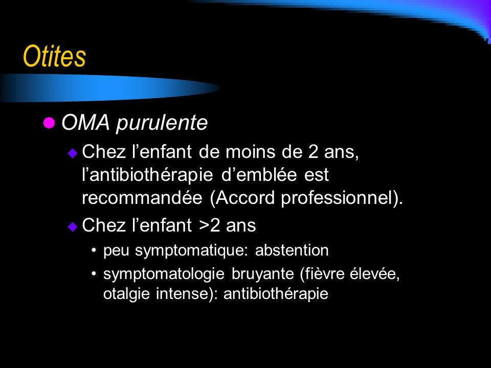 Otites OMA purulente Chez lenfant de moins de 2 ans, lantibiothérapie demblée est recommandée (Accord professionnel). Chez lenfant >2 ans peu symptoma