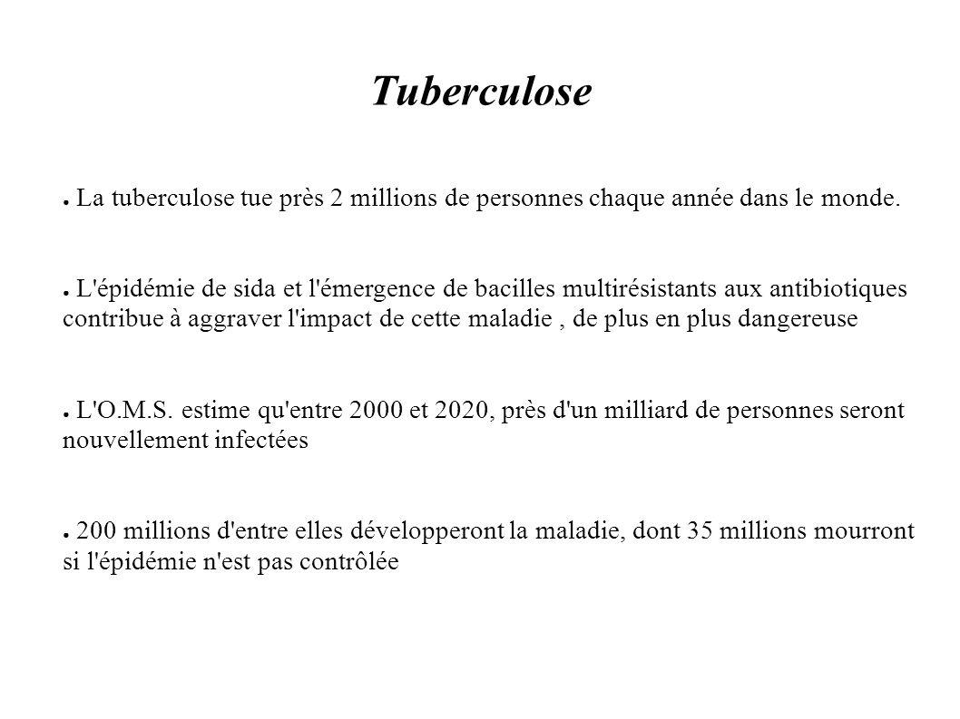 Tuberculose La tuberculose tue près 2 millions de personnes chaque année dans le monde. L'épidémie de sida et l'émergence de bacilles multirésistants