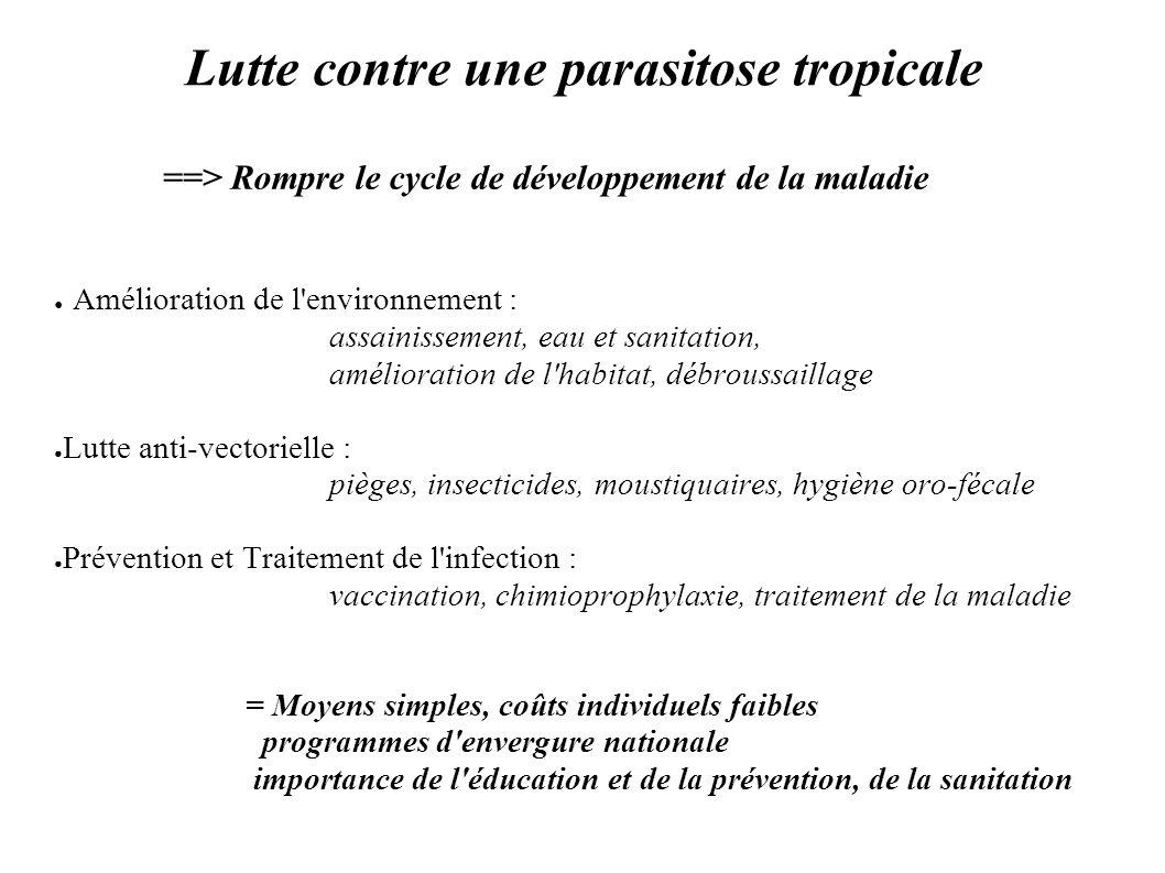 Lutte contre une parasitose tropicale ==> Rompre le cycle de développement de la maladie Amélioration de l'environnement : assainissement, eau et sani