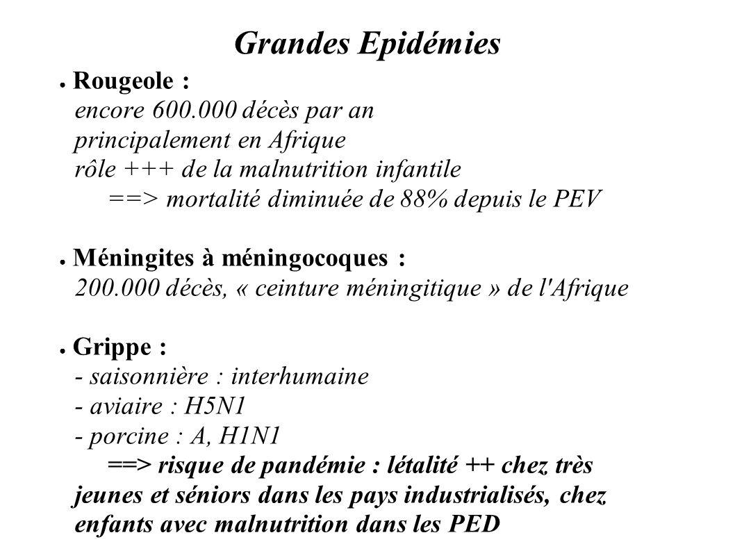 Grandes Epidémies Rougeole : encore 600.000 décès par an principalement en Afrique rôle +++ de la malnutrition infantile ==> mortalité diminuée de 88%