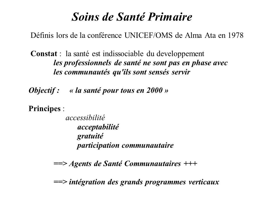 Soins de Santé Primaire Définis lors de la conférence UNICEF/OMS de Alma Ata en 1978 Constat : la santé est indissociable du developpement les profess