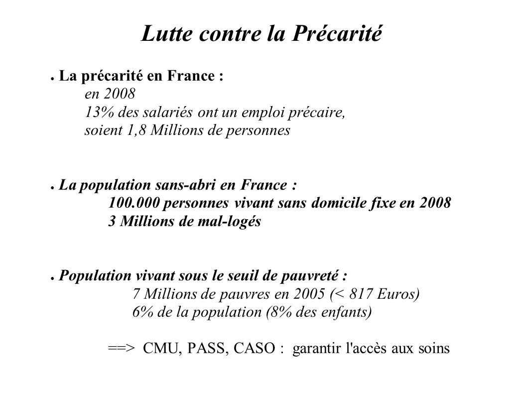 Lutte contre la Précarité La précarité en France : en 2008 13% des salariés ont un emploi précaire, soient 1,8 Millions de personnes La population san