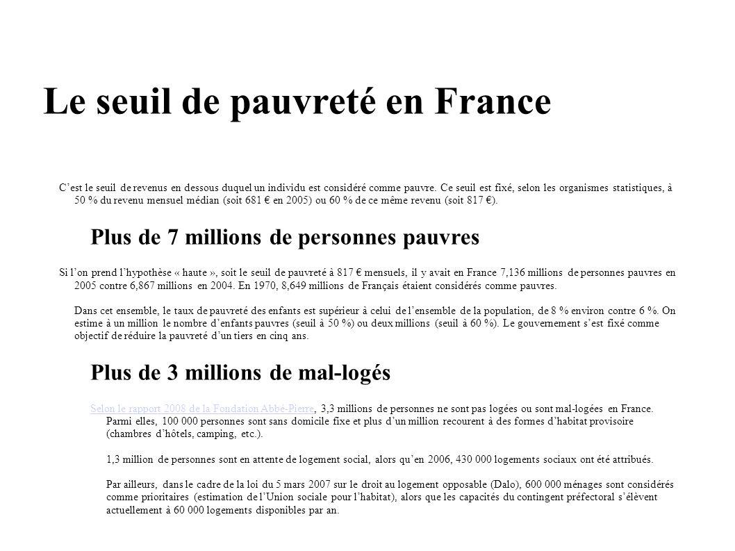 Le seuil de pauvreté en France Cest le seuil de revenus en dessous duquel un individu est considéré comme pauvre. Ce seuil est fixé, selon les organis