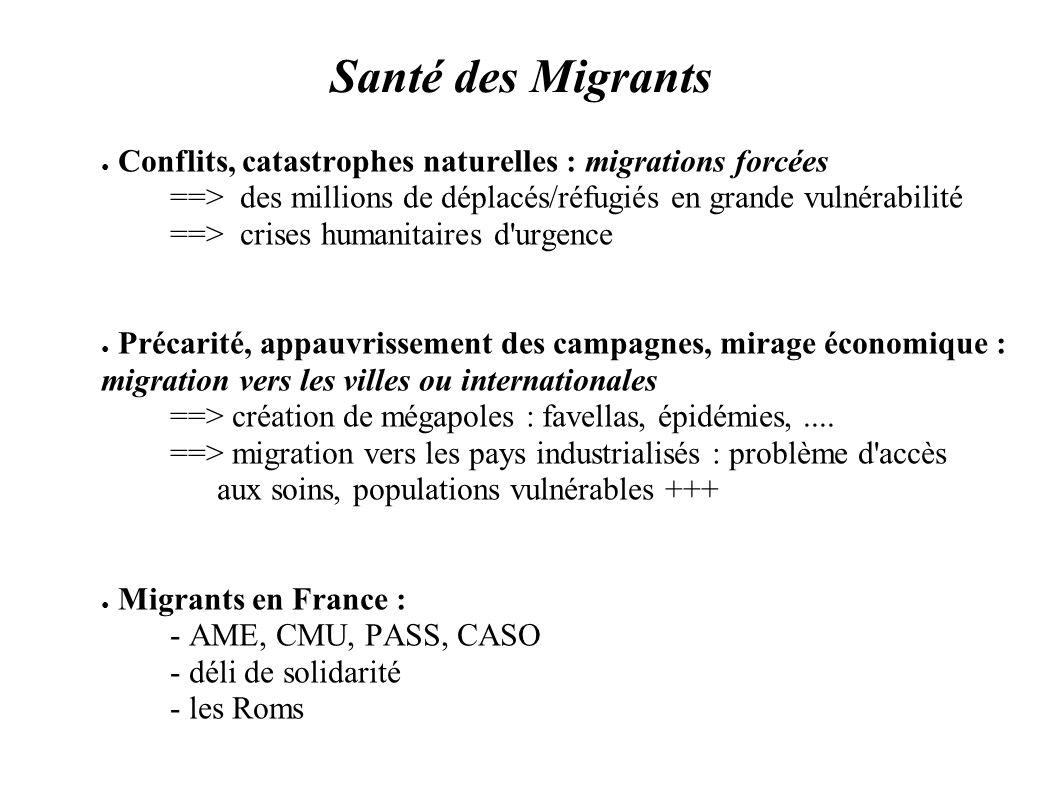 Santé des Migrants Conflits, catastrophes naturelles : migrations forcées ==> des millions de déplacés/réfugiés en grande vulnérabilité ==> crises hum