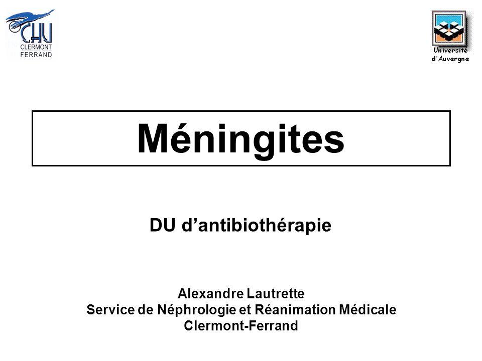 Méningites Alexandre Lautrette Service de Néphrologie et Réanimation Médicale Clermont-Ferrand DU dantibiothérapie