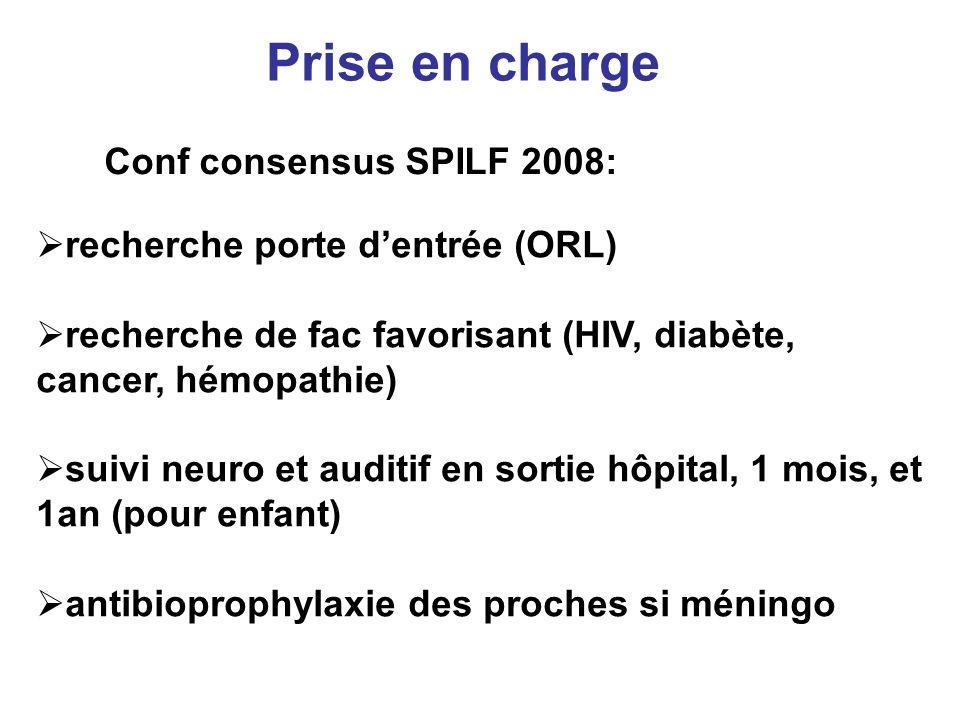Prise en charge Conf consensus SPILF 2008: recherche porte dentrée (ORL) recherche de fac favorisant (HIV, diabète, cancer, hémopathie) suivi neuro et
