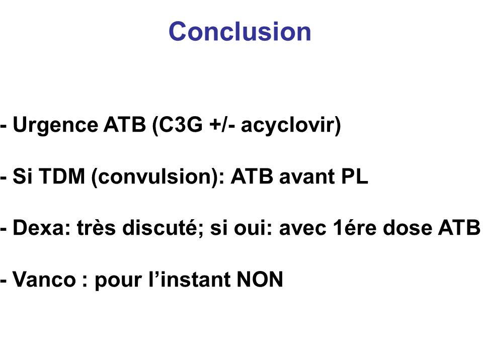 Conclusion - Urgence ATB (C3G +/- acyclovir) - Si TDM (convulsion): ATB avant PL - Dexa: très discuté; si oui: avec 1ére dose ATB - Vanco : pour linst