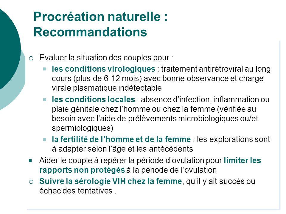 Procréation naturelle : Recommandations Evaluer la situation des couples pour : les conditions virologiques : traitement antirétroviral au long cours