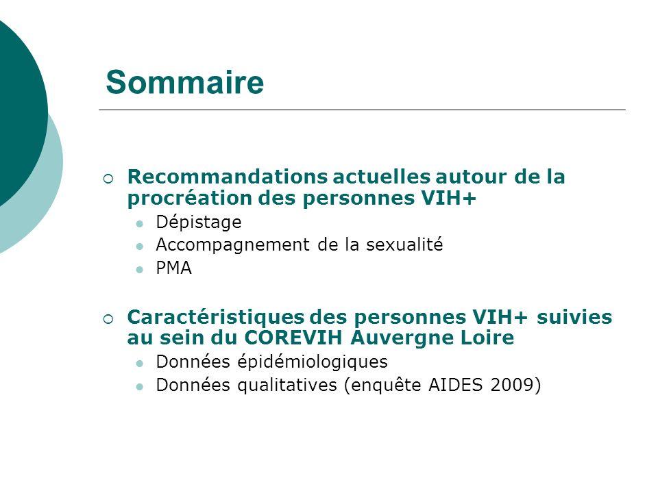Sommaire Recommandations actuelles autour de la procréation des personnes VIH+ Dépistage Accompagnement de la sexualité PMA Caractéristiques des perso