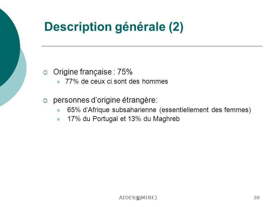 30 Description générale (2) Origine française : 75% 77% de ceux ci sont des hommes personnes dorigine étrangère: 65% dAfrique subsaharienne (essentiel