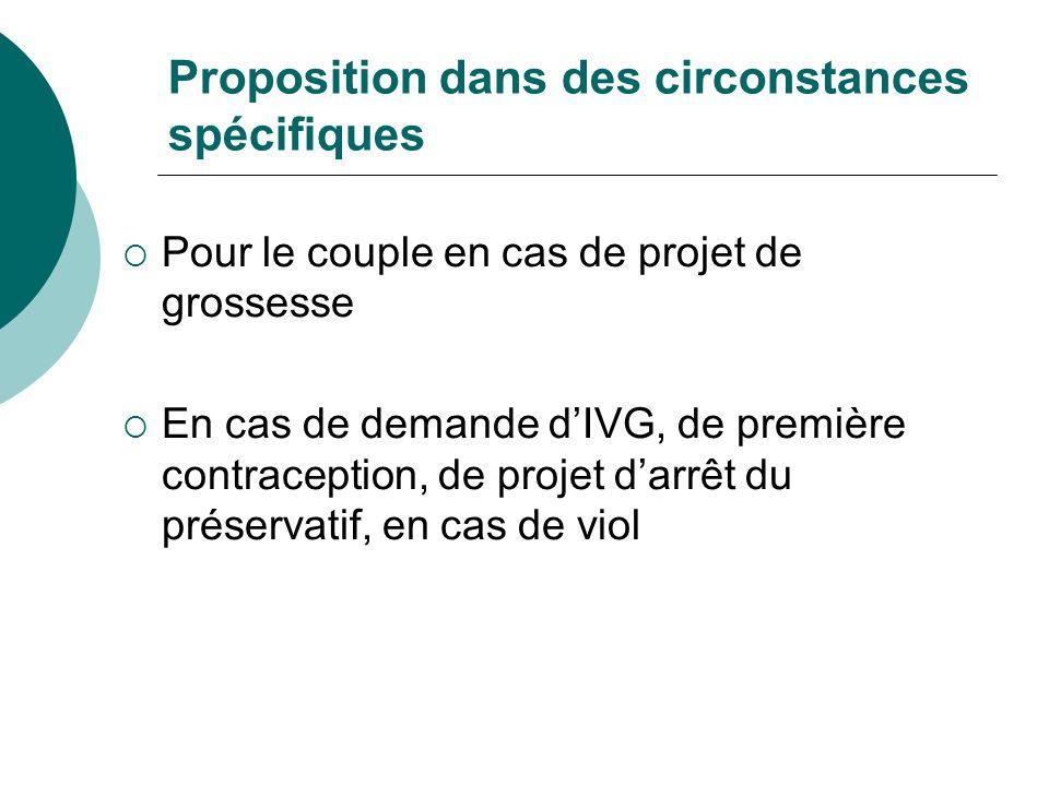 Proposition dans des circonstances spécifiques Pour le couple en cas de projet de grossesse En cas de demande dIVG, de première contraception, de proj