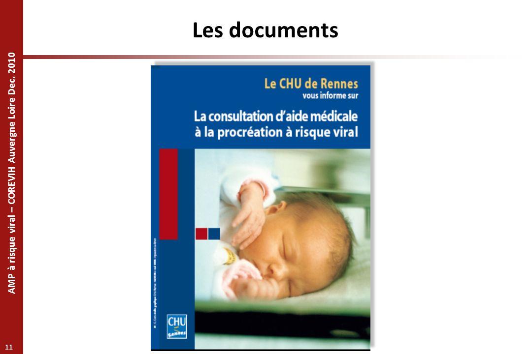 AMP à risque viral – COREVIH Auvergne Loire Dec. 2010 11 Les documents