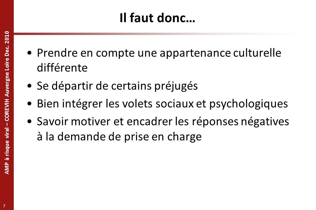 AMP à risque viral – COREVIH Auvergne Loire Dec. 2010 7 Il faut donc… Prendre en compte une appartenance culturelle différente Se départir de certains