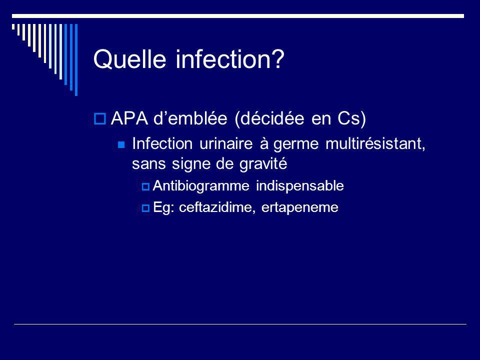 Quelle infection? APA demblée (décidée en Cs) Infection urinaire à germe multirésistant, sans signe de gravité Antibiogramme indispensable Eg: ceftazi