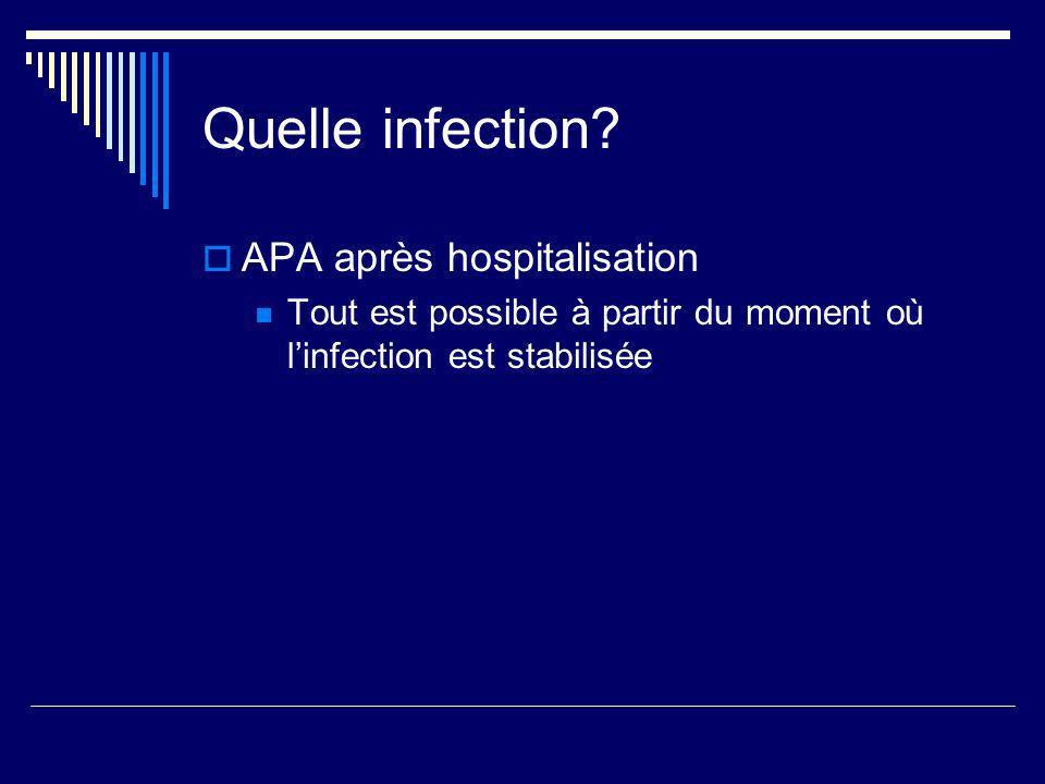 Quelle infection? APA après hospitalisation Tout est possible à partir du moment où linfection est stabilisée
