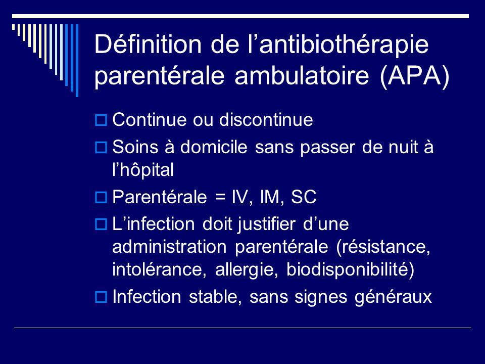 Définition de lantibiothérapie parentérale ambulatoire (APA) Continue ou discontinue Soins à domicile sans passer de nuit à lhôpital Parentérale = IV,