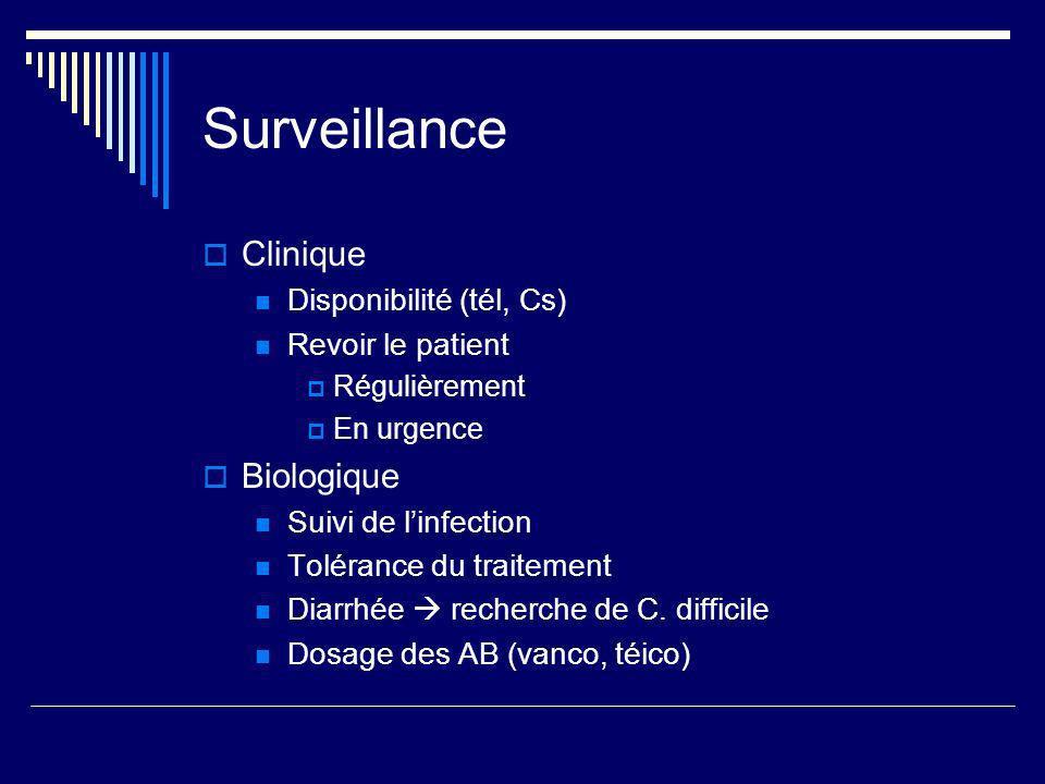 Surveillance Clinique Disponibilité (tél, Cs) Revoir le patient Régulièrement En urgence Biologique Suivi de linfection Tolérance du traitement Diarrhée recherche de C.